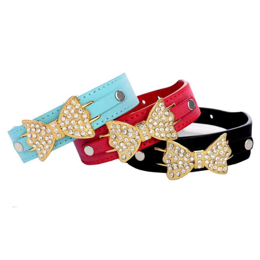 Sweet Pets Dogs Puppy Cat Bling Crystal Bow Leather Collar