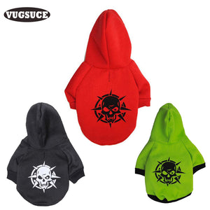 Pet Dogs Cats Winter Warm Pirate Skull Hoodie Jacket Coat