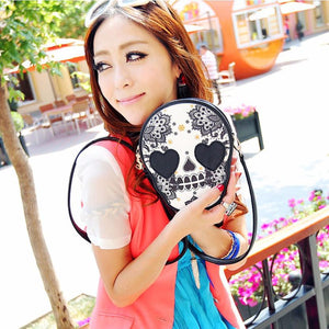 Womens Gothic Rock Steampunk Black Skull Handbag