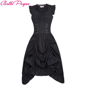 Belle Poque Womens Gothic Steampunk Black V-Neck Lace-up Corset Ruffle Dress