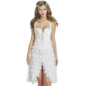 Womens Moonight White/Black Gothic Pleated Corset Dress