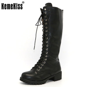 New Womens KemeKiss Designer Low Heel Gothic Steampunk Motorcycle Knee High Winter Boots