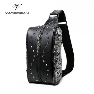 Unisex Gothic Rock Steampunk PU Leather 3D Rivet Phone/Messenger Shoulder Bag