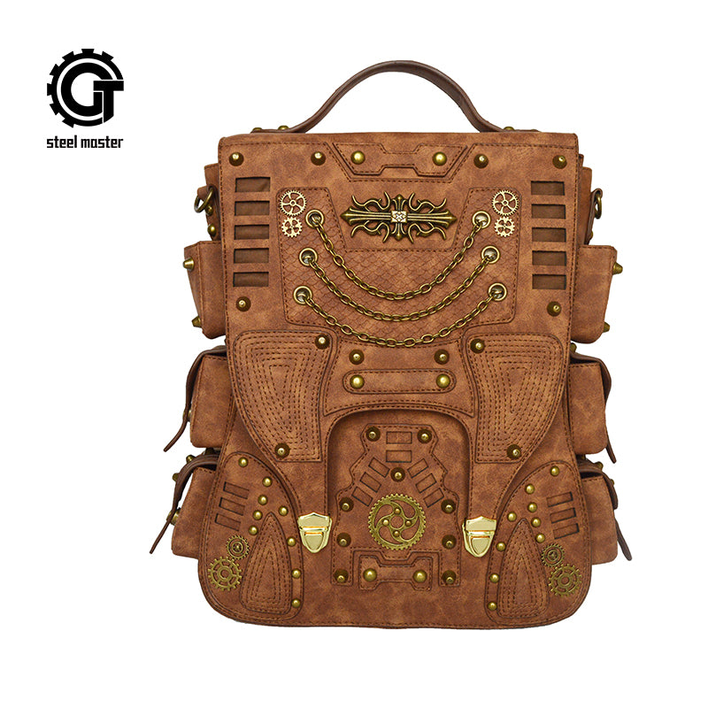 Womens Mens Victorian Steampunk Vintage Faux Leather Backpack Unisex Steampunk Bag