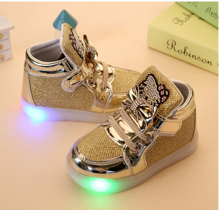 New Winter Girls Hello Kitty Sneakers/Trainers Shoes with LED Lights