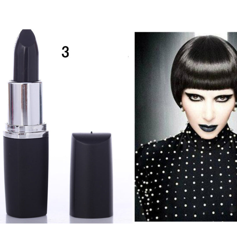 NEW Gothic Rock Waterproof Lipstick Vampire Black Color Lip Stick Long Lasting