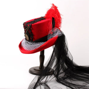 Womens Gothic Steampunk Red Wool Fedora Top Hat Mad Hatter Party Hat