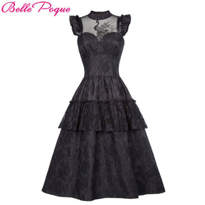Belle Poque Womens Black Victorian Gothic Steampunk Ruffle & Lace Dress