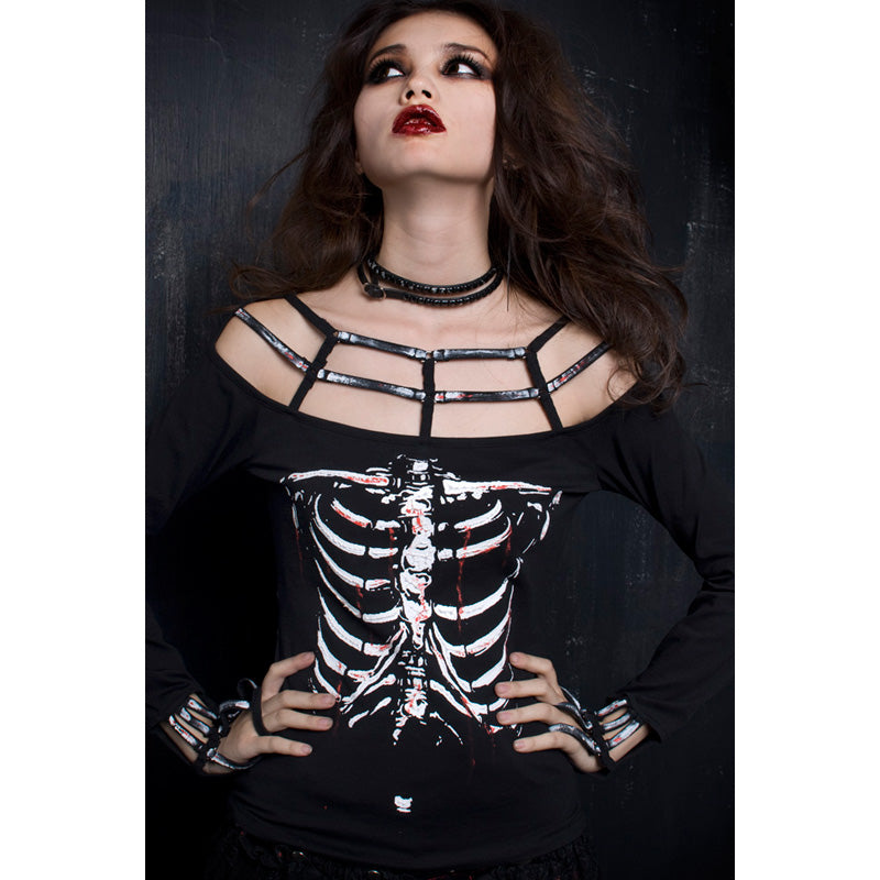 Womens Punk Rave Gothic Rock Skeleton Print Vampire Style Top One Size