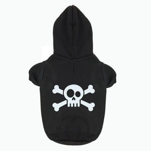 Pets Gothic Skull & Crossbones Hoodie Puppies Dogs Chihuahua & Large Dogs 4 Colors