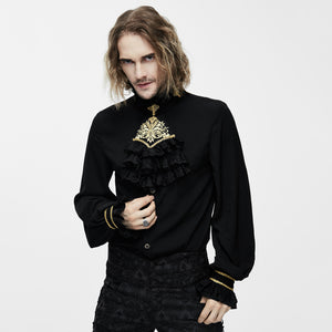 Mens Gothic Steampunk Victorian Devil Silk Black Shirt & Tie