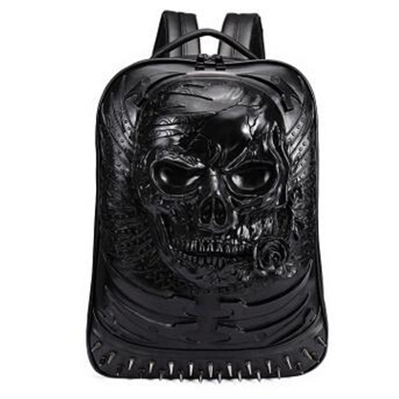 New Mens Gothic Rock Punk Skull & Rivet Motorcycle Ride Laptop Bag Unique 3D Backpack