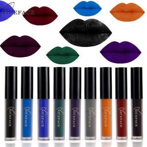 Gothic Liquid Lipsticks Long Lasting Pigment 9 Colors Dark Red Blue Black Matte Lip Gloss Make Up