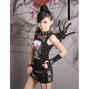 Womens Gothic Rock Punk Rave Graffiti T Shirt Top