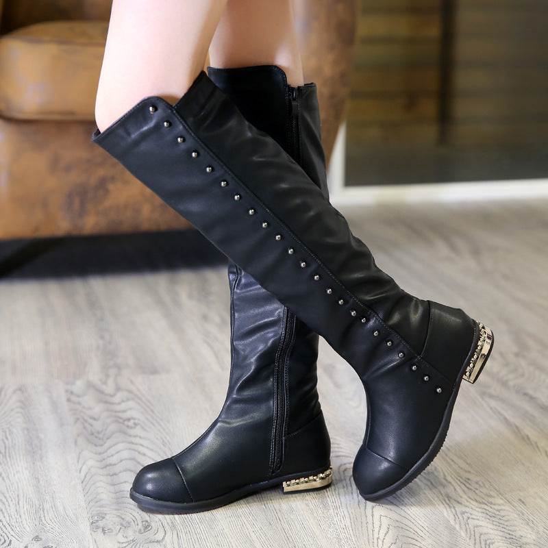 New Girls Winter Waterproof Gothic Metal Heel & Rivet Non Slip Boots