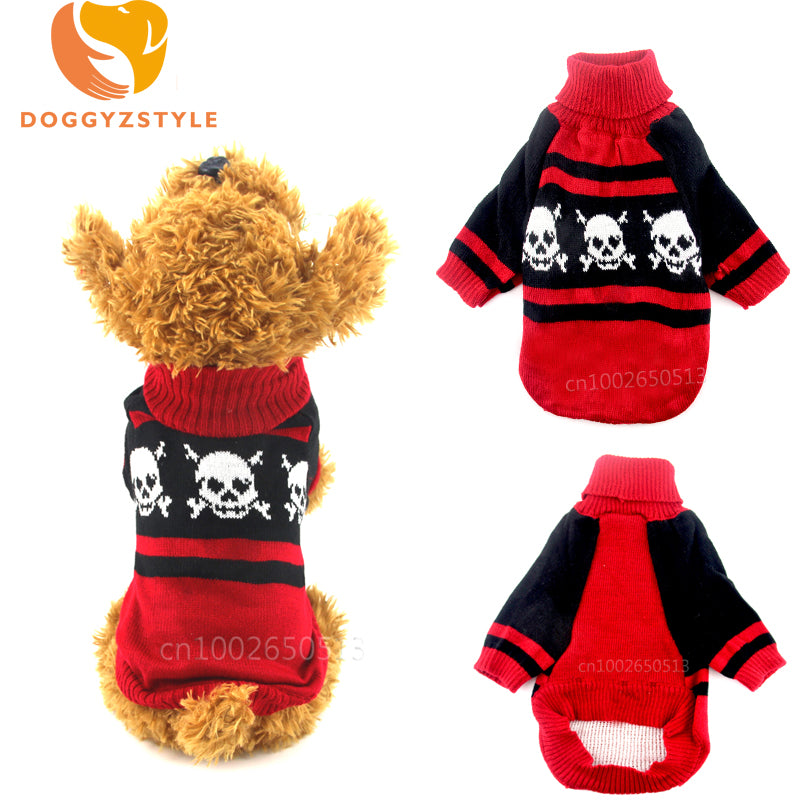 Pet Dogs Chihuahua Winter Warm Gothic Skull Pattern Knitted Jumper/Sweater