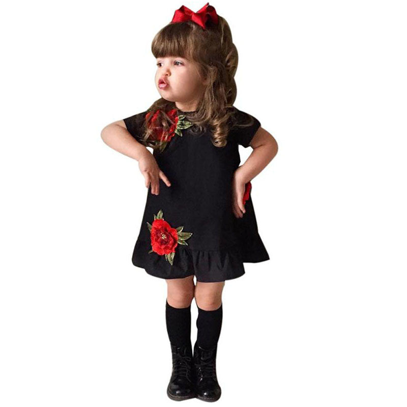 Girls Gothic Floral Rose Party Dress 1 - 5yrs