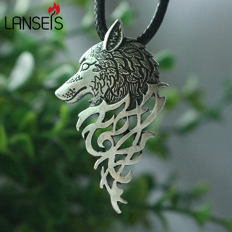 Mens Gothic Rock Viking Wolf Head Necklace
