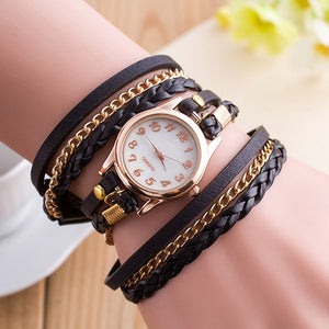 Womens Gothic Steampunk Wrap Around Bracelet Watch Faux Leather Quartz-Watch