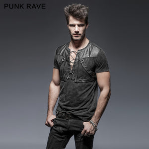 Punk Rave Mens Gothic Rock Steampunk Heavy Metal Black Top