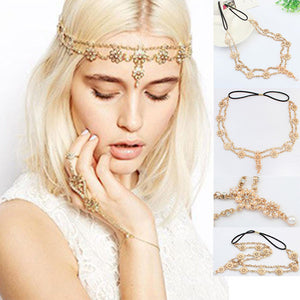 Womens Medieval Bohemian Gothic Gold & Pearl Tassel Flower Crystal Chain Headband Stretch Hair Chain Gold