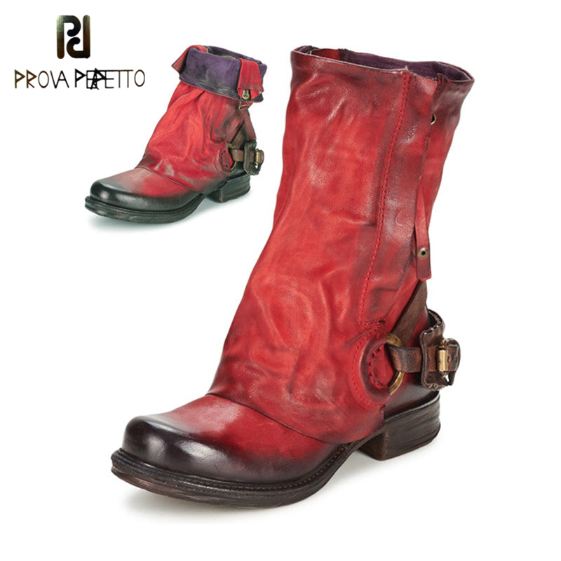 Womens Prova Perfetto Designer Gothic Steampunk Genuine Leather Mid-Calf Motorcycle Boots