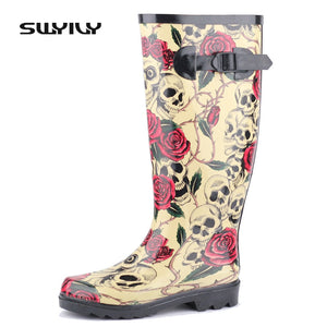 New Womens Gothic Rose Skull Design Wellington Boots Waterproof Wellies