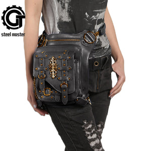 Men/Womens Vintage Gothic Steampunk Rivet Crossbody Shoulder/Leg Bag