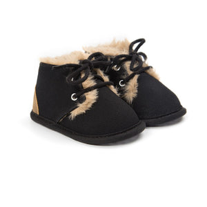 New Winter Baby Boys Girls Leather Shoes with Fur Trim Black/Brown/Pink/Grey/Khaki/Green/Leopard Print