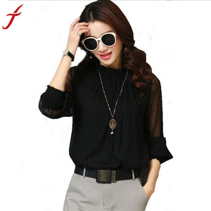 Womens Elegant Gothic Ruffles Long Sleeve Chiffon Blouse Casual Top