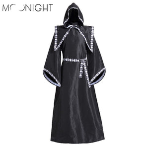 MOONIGHT Gothic Priest Robe Wizard Robe Cosplay Costume Mens Fancy Dress Robe