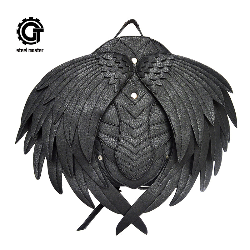 Womens Mens Gothic Rock Steampunk Black Angel Vampire Wings Backpack