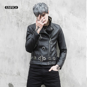 Mens Gothic Rock Punk Black Leather Biker Jacket Leather Motorcycle Jacket