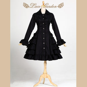Womens Vintage Gothic Victorian Black Ruffle Lolita Trench Coat