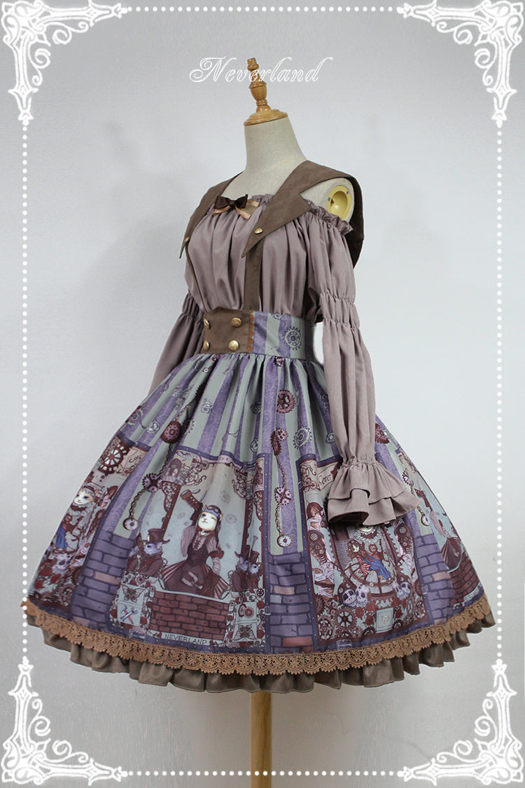 Womens Victorian Steampunk Cat Series Lolita Printed A-line Skirt with Detachable Sailor Collar