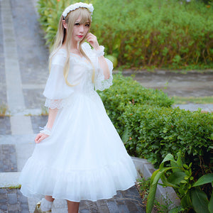 New Womens Classic Gothic Victorian Steampunk Lolita Embroidered Dress in Black or White