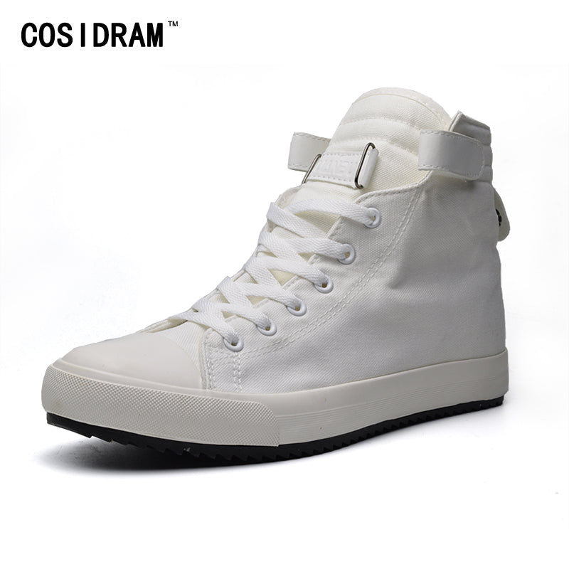 New Mens White/Black/Red Canvas Ankle Boots 2018 High Top Canvas Shoes