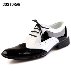 Mens Patent Leather Black & White Oxford Shoes Dress Shoes