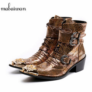 Mens Gothic Steampunk Gold Dragon Pointed Toe Cowboy Ankle Boots Motorcycle Boots