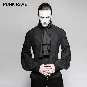 PUNK RAVE Mens Gothic Steampunk Black Silk Necktie Shirt
