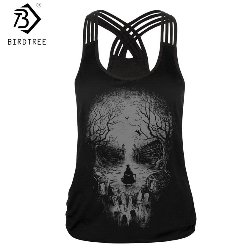 New Womens Gothic Rock Skull Head Design Tank Top T Shirt Vest Top