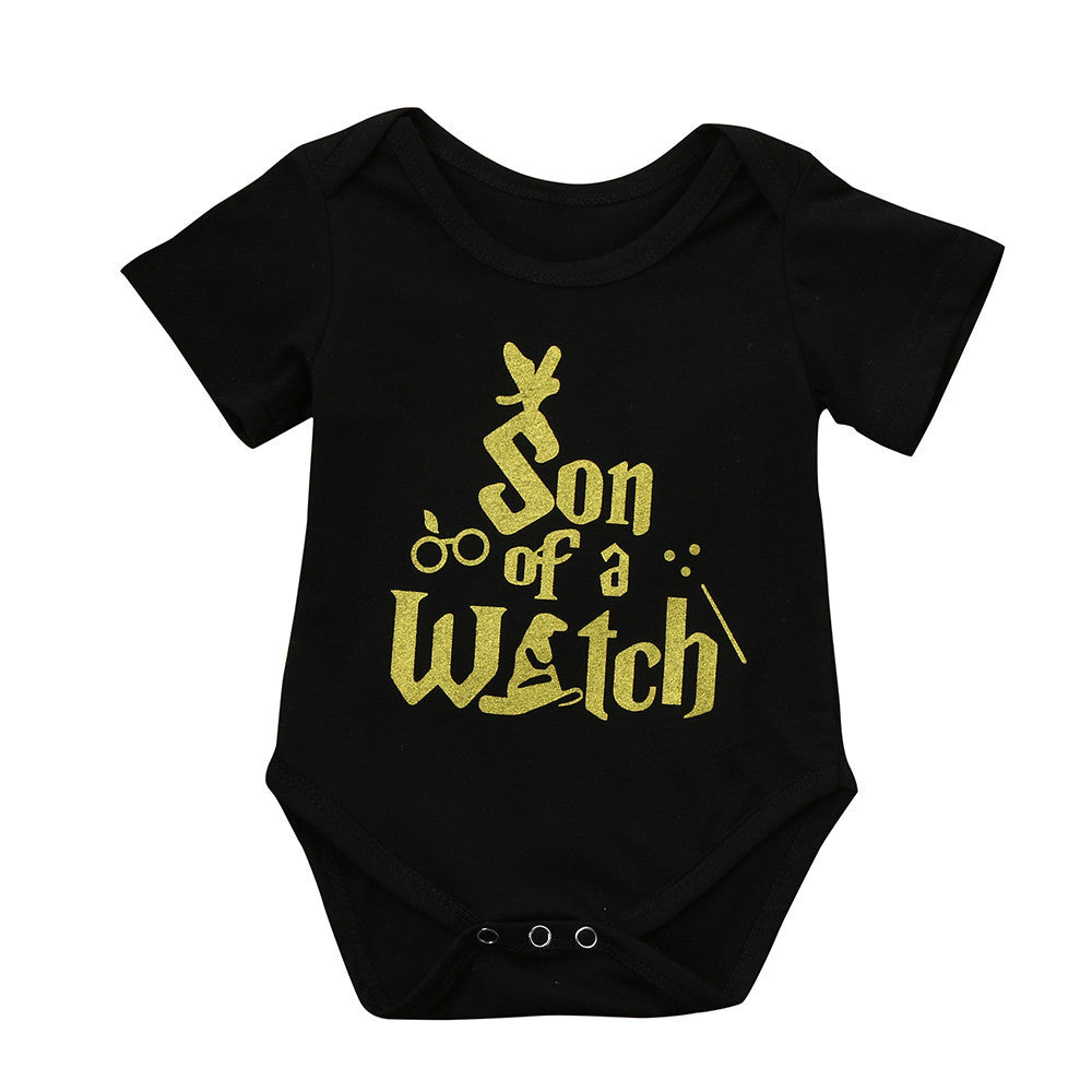 Newborn Baby Boys Gothic Son of a Witch Babygrow Romper Suit Jumpsuit