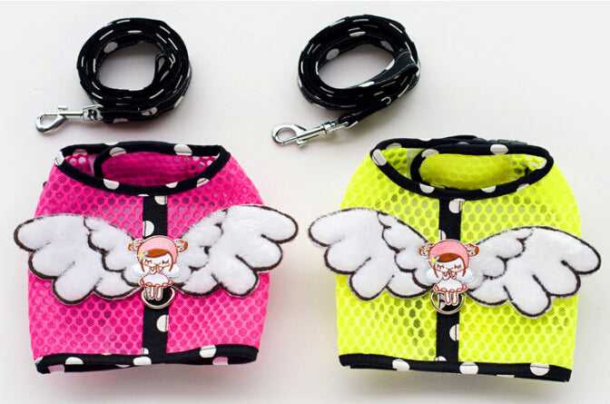 Small Dogs Puppies Gothic Punk Angel Wing Harness Leash Walking Harness Lead