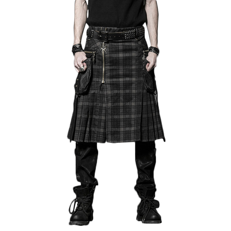 Mens Gothic Punk Double Pockets Scottish Kilt Mens Gothic Lattice Belt Skirt