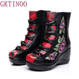 Womens Gothic Steampunk New Genuine Leather Flower Embroidered Wedge Ankle Boots