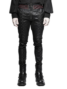 Mens Gothic Steampunk Stretch Tight Black Faux Leather Trousers Pants Eva Lady Brand Trousers Pants