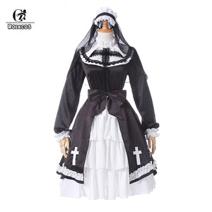 Womens Victorian Gothic Lolita Nun Cosplay Dress Costume