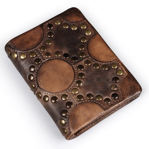 Mens Victorian Gothic Steampunk Genuine Leather Handmade Rivets Wallet Coin Purse