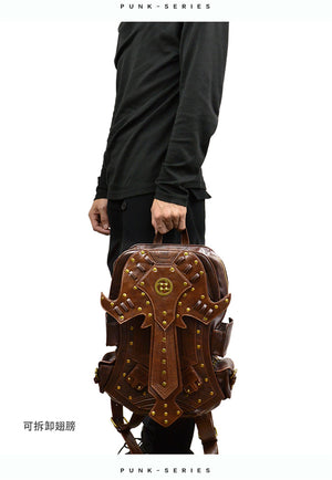 Mens Womens Victorian Steampunk Vintage Detachable Wings Backpack
