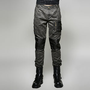 Mens Gothic Steampunk Military Style 3D Pocket Trousers Pants